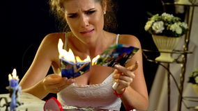 Unhappy girl burn love photos pictures.4k stock video