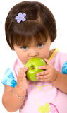 Unhappy girl eating Royalty Free Stock Image