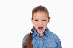 Unhappy girl screaming Royalty Free Stock Images