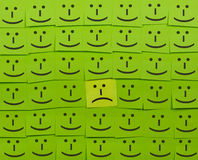 Unhappy and happy concept. Background of Sticky Notes. Royalty Free Stock Photos