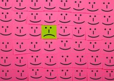 Unhappy and happy concept. Background of Sticky Notes. Stock Image