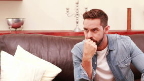 Unhappy homosexual couple. In the living room stock video footage