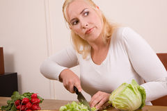 Unhappy housewife Royalty Free Stock Images