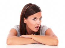Unhappy lady looking at camera with angry look Royalty Free Stock Image