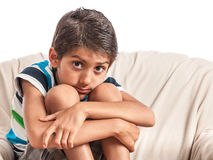Unhappy little boy Stock Photos