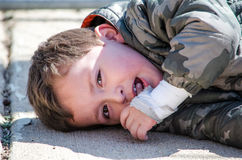 Unhappy little boy Royalty Free Stock Images