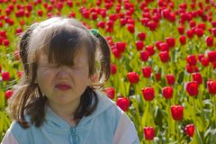 Unhappy little girl. With tear on red tulips background Stock Photo
