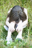 Unhappy little girl crying. Portrait of little girl crying outdoors Royalty Free Stock Image