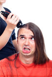 Unhappy man and hairdresser detail Royalty Free Stock Photos