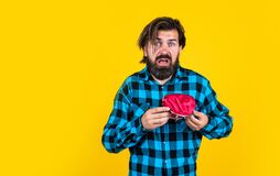 Free Unhappy Man Hold Purse. Poor Man Need Some Money. Loan In Crises. Have Money Saving. Ready To Go Shopping. Bearded Royalty Free Stock Image - 208527866