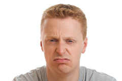 Unhappy man portrait royalty free stock photography