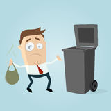 Unhappy man taking out the rubbish Royalty Free Stock Photography