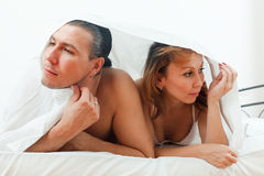 Unhappy man and woman having  problem Stock Image