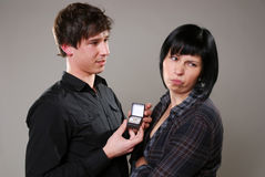 Unhappy about marriage proposal Stock Photos