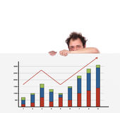 Unhappy men and chart Stock Photography