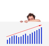 Unhappy men and chart Stock Photos