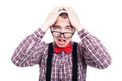 Unhappy nerd man Stock Images