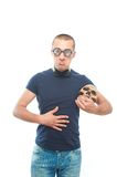 Unhappy nerd and skull Royalty Free Stock Image