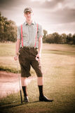 Unhappy Old Fashioned Golfer Royalty Free Stock Photo