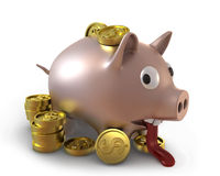 Unhappy overflown piggy bank Royalty Free Stock Images