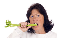 Unhappy Overweight Woman Choosing To Eat Healthy Stock Images