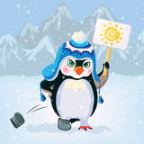 Unhappy penguin holding a sign. Vector Royalty Free Stock Photos