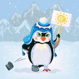 Unhappy penguin holding a sign. Vector Royalty Free Stock Photos