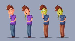 Unhappy person vomiting from food poisoning. Cartoon vector illustration Royalty Free Stock Images