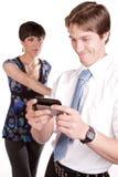 Unhappy phone text Stock Photos