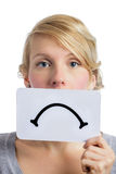 Unhappy Portrait of someone Holding a Sad Mood Board Royalty Free Stock Images