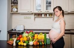 Pregnant woman - healthy food Stock Photo