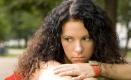 Unhappy pretty woman. Outdoor portrait of unhappy pretty woman Stock Photos