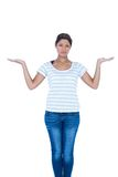 Unhappy pretty woman with arms up Royalty Free Stock Photos