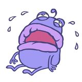 Unhappy purple monster pours tears. Vector illustration. royalty free stock photos