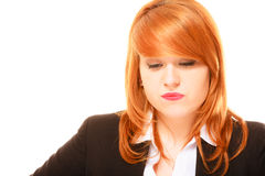 Unhappy red haired businesswoman Royalty Free Stock Image