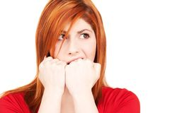 Unhappy redhead woman Stock Images