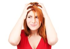 Unhappy redhead woman Royalty Free Stock Photo