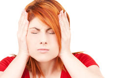 Unhappy redhead woman Royalty Free Stock Photos