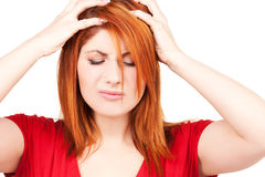 Unhappy redhead woman Royalty Free Stock Photography