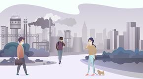 Unhappy sad people wearing protective face masks and walking near depressive factory pipes city with smoke on background. Industrial smog, air pollution and royalty free illustration
