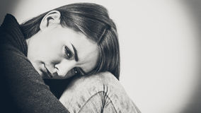 Unhappy and sad woman. Face emotional expression of sadness. Unhappy worried thinking woman, depressed girl deep in thought. Female contemplating life Stock Photos