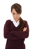 Unhappy schoolgirl Royalty Free Stock Image