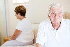Unhappy senior couple Stock Photos