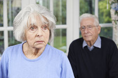 Unhappy Senior Couple At Home Together Stock Images