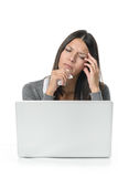 Unhappy Sick Woman Working with Laptop Stock Images