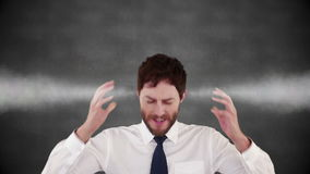 Unhappy stressed businessman with hot head. Against grey background stock video
