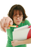 Unhappy teacher. Young unhappy teacher pointing with pencil stock image