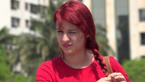 Unhappy Teen Female Redhead. Stock video in 4k or HD resolution stock video footage