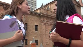 Unhappy Teen Girl Students. A Group of Female High School Students Stock Photos