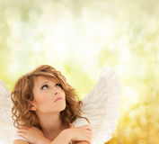 Unhappy teenage angel girl Royalty Free Stock Images
